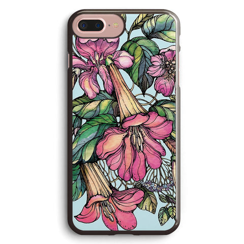 Red Trumpet Vine Flowers on Blue Apple iPhone 7 Plus Case Cover ISVD633