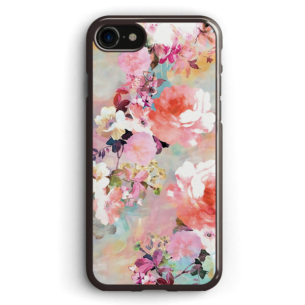 Romantic Pink Teal Watercolor Chic Floral Pattern Apple iPhone 7 Case Cover ISVH984