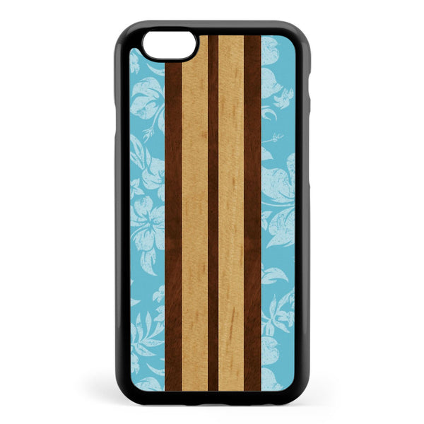 Sunset Beach Hawaiian Faux Koa Wood Surfboard Aqua Apple iPhone 6 / iPhone 6s Case Cover ISVE774