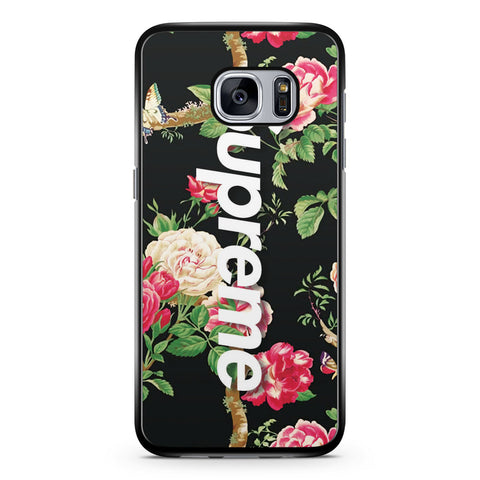 Vintage Flower Black Background Supreme Samsung Galaxy S7 Case Cover ISVA624