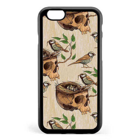 Black and White Illustration of Birds Making a Nest in Animal Skull Apple iPhone 6 / iPhone 6s Case Cover ISVE953