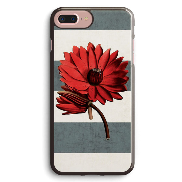 Botanical Stripes Red Water Lily Apple iPhone 7 Plus Case Cover ISVF608