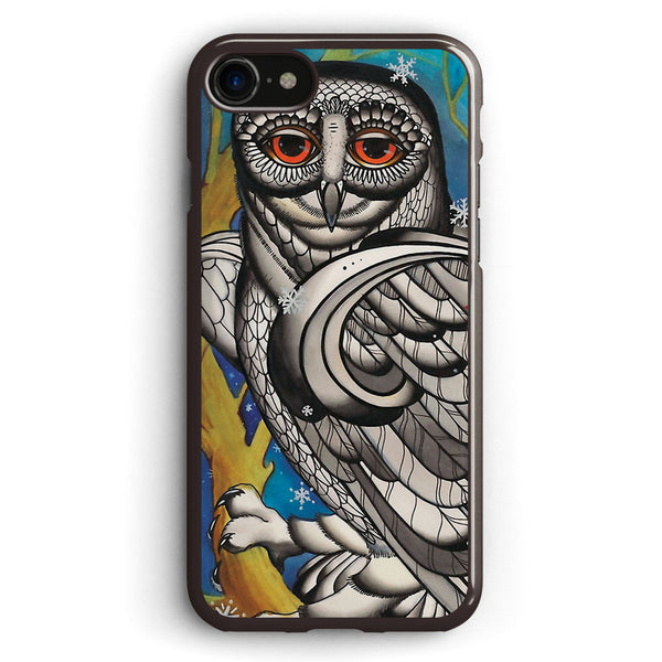 Snowy Owl with Red Star Apple iPhone 7 Case Cover ISVB194