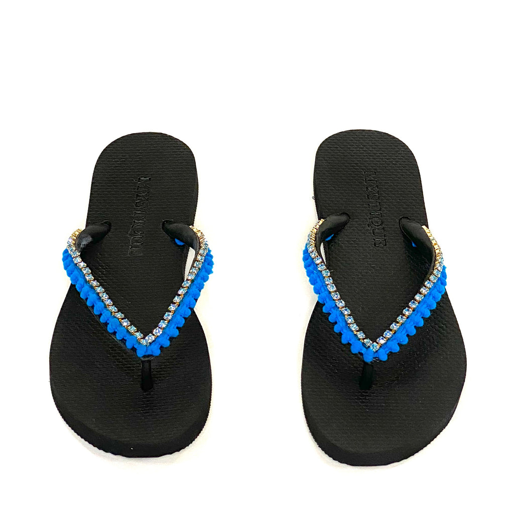 FLIP FLOPS BLUE SMALL POMPOMS