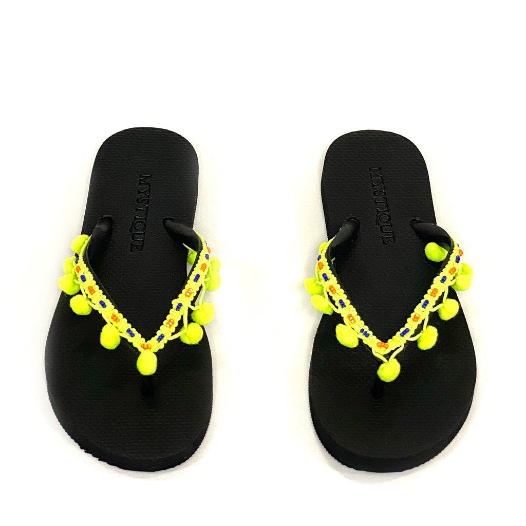 FLIP FLOPS YELLOW POMPOMS