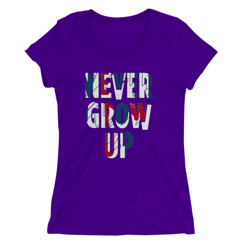 Never Grow Up Peterpan Quote Womens T Shirt Blueskytee
