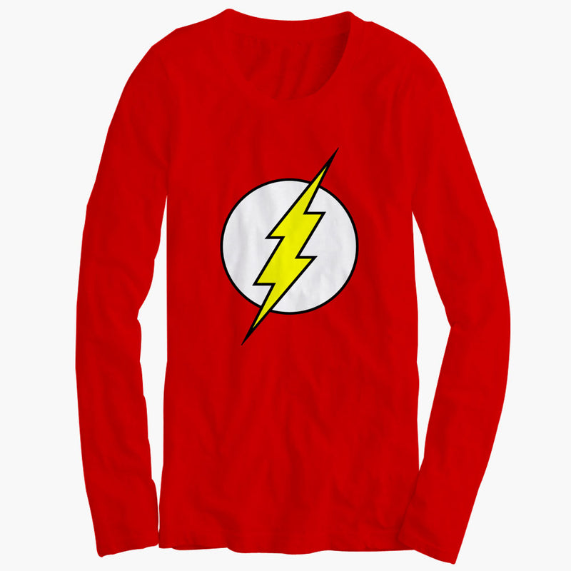 the flash superhero logo womens long sleeve blueskytee