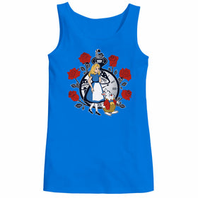 Time For Wonderland Alice White Rabbit Cheshire Cat Queen Of Hearts Through The Looking Glass Disney Cartoon Geek Women Tank Top