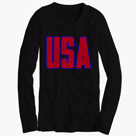 Usa America Patriotic Womens Long Sleeve