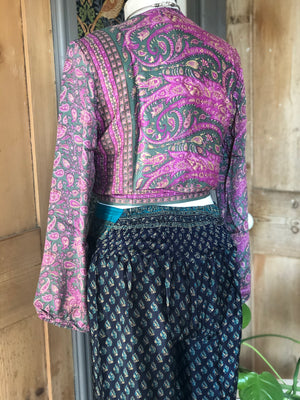 Reworked sari long sleeve top- more print options in photos