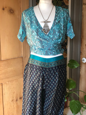 Reworked sari short sleeve top- more print options in photos