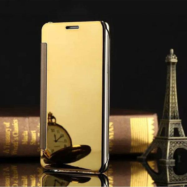 A5 Flip Mirror Leather PC Case For Samsung Galaxy A5 A7 A8 A9 Galaxy Note 4 / 5 Cover Protector Shell View Window Clear UV Coque