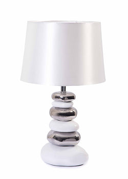 Modern Silver / White Pebble Petra Table Lamp with White Fabric Silk Shade-Table Lamp-Chic Concept