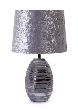 Olivia Grey / Silver Round Ceramic Base & Silver Crushed Velvet Shade-Table Lamp-Chic Concept