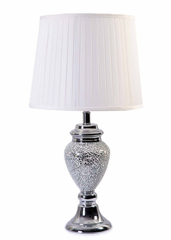 Amelia Silver Crushed Mosaic Crystals Base & White Pleated Fabric Shade-Table Lamp-Chic Concept