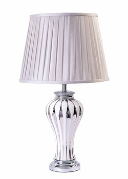 Marble Silver/White Ceramic Base & Pleated Silk Fabric Shade Table Lamp-Table Lamp-Chic Concept