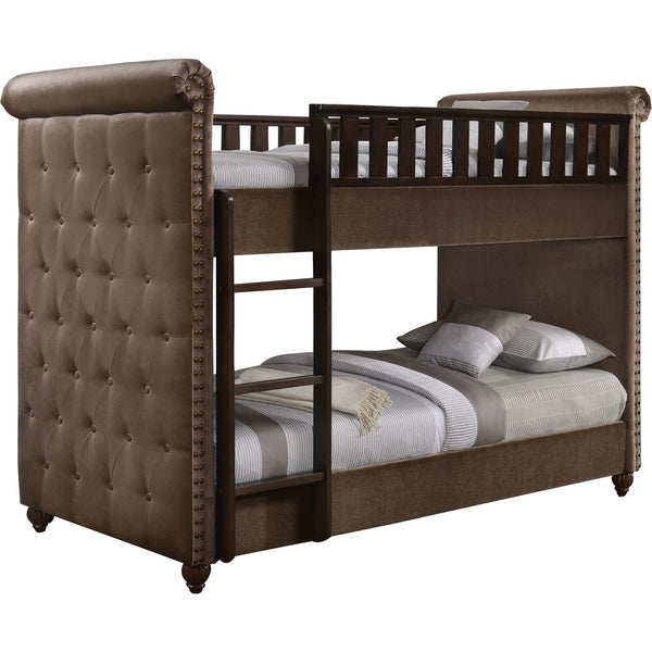 Ava Children's Brown Velvet Fabric Chesterfield Bunk Bed