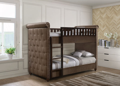 Ava Children's Brown Velvet Fabric Chesterfield Bunk Bed-Bunk Bed-Chic Concept