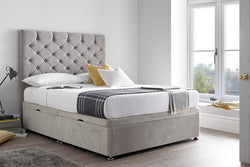 Chesterfield Floor Standing Headboard & Ottoman Storage Bed