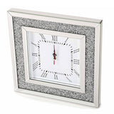Glitz Mirrored Diamante Square Wall Clock-Mirrored Furniture-Chic Concept
