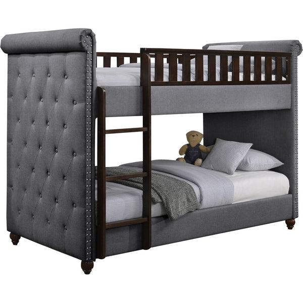 Ava Children's Dark Grey Linen Fabric Chesterfield Bunk Bed