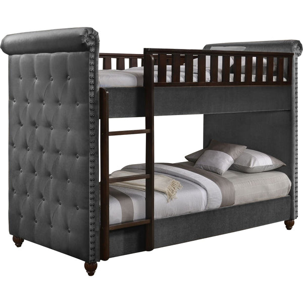 Ava Children's Grey Velvet Fabric Chesterfield Bunk Bed