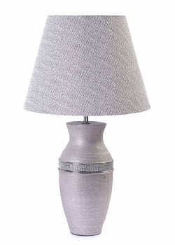 Diamante Jewel Ceramic Base with Grey & Silver Shade Table Lamp