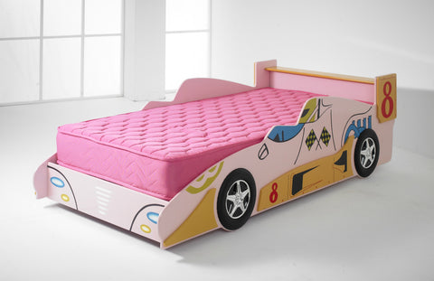 Kids F1 Pink Racing Car Bed