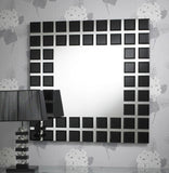 Modern Squares Border Black Bevelled Frame Wall Mirror