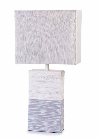 Modern Grey / Cream Stone Effect Ceramic Base & Light Grey Shade Table Lamp