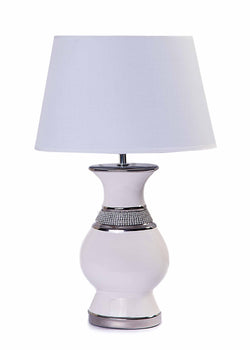 Modern White Jewel Ceramic Base with White Shade-Table Lamp-Chic Concept