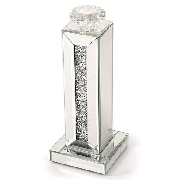 Glitz Mirrored Diamante Candle Holder-Mirrored Furniture-Chic Concept