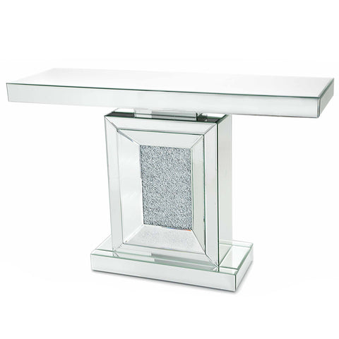 Glitz Mirrored Diamante Large Console Table-Mirrored Furniture-Chic Concept