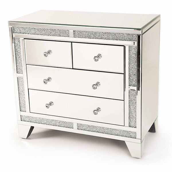 Glitz Mirrored Diamante Chest Of Four Drawers-Mirrored Furniture-Chic Concept
