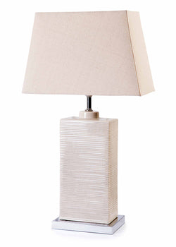 Travatine Cream Ceramic Chrome Base with Cream Shade Table Lamp