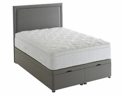 Plain Border Floor Standing Headboard & Ottoman Storage Bed