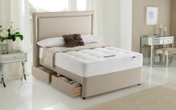 Plain Border Divan Bed & Floor Standing Headboard