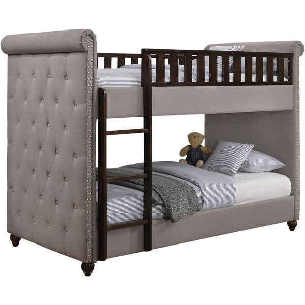 Ava Children's Light Grey Linen Fabric Chesterfield Bunk Bed