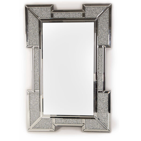 Glitz Mirrored Diamante Bevelled Glass Wall Mirror-Mirrored Furniture-Chic Concept