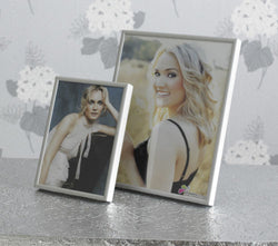 Set of 3 Photo Frames Aluminium Silver