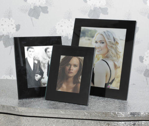 Set of 3 Black Glass Photo Frames