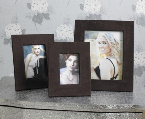 Brown Faux Suede Photo Frames