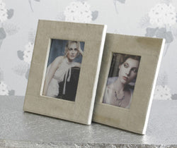 Set of 3 Cream Suede Photo Frames