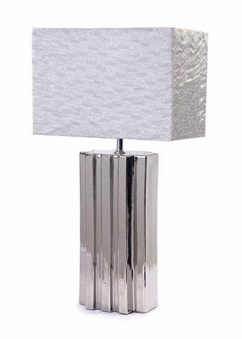Bellagio Silver Ceramic Base & Silk Fabric Shade Table Lamp-Table Lamp-Chic Concept