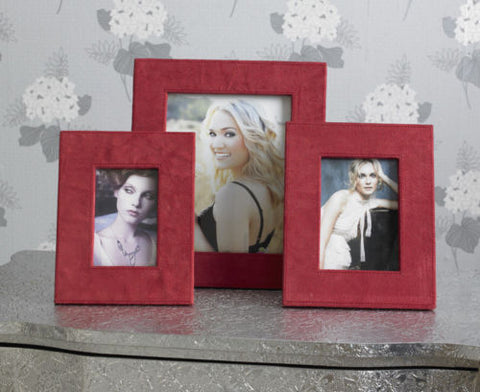 Set of 3 Red Suede Photo Frames