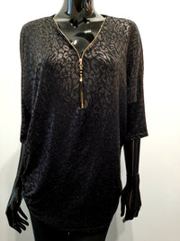 Black Mottled Evening Tunic Top T142