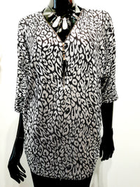 Silver and Black Evening Tunic Top T144