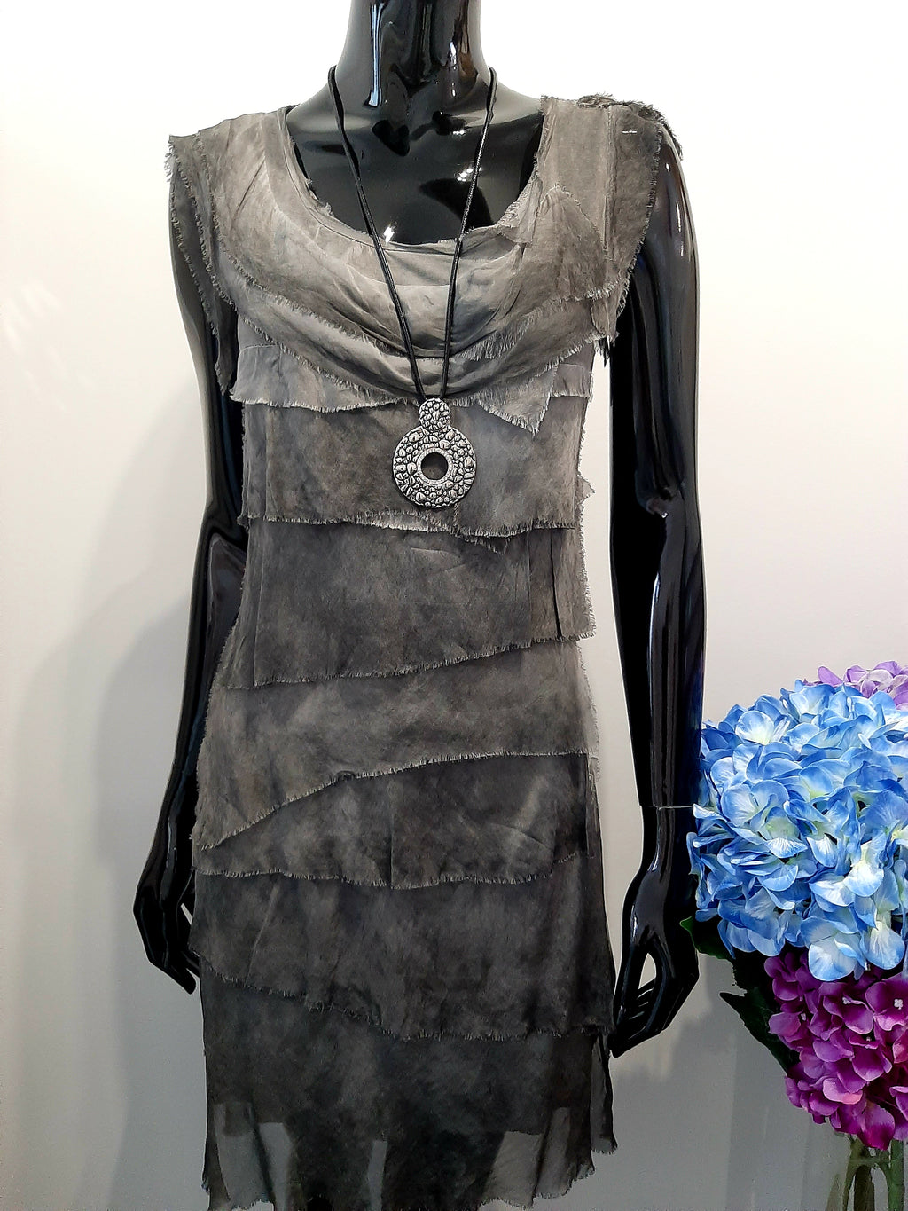 Charcoal Tiered Dress D144