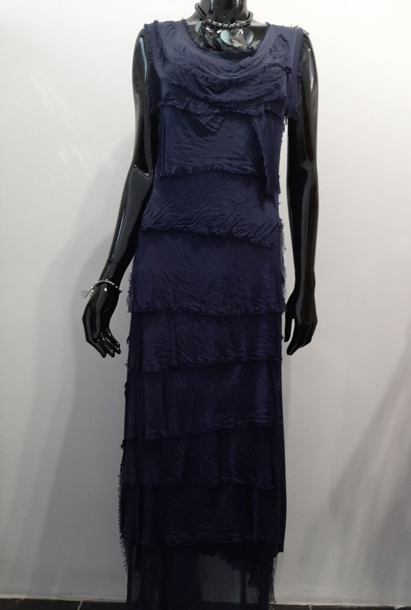 Navy Long Tiered Dress D150