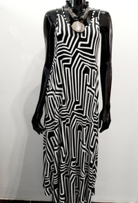 Black and White Strappy Dress D152